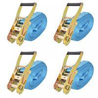 vidaXL Укрепващ колан с тресчотка, 4 бр, 4 тона, 8мх50мм, син