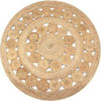 vidaXL Плетен килим с дизайн, от юта, 150 см, кръгъл