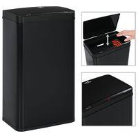 vidaXL Кош за смет с автоматичен сензор черен неръждаема стомана 70 л