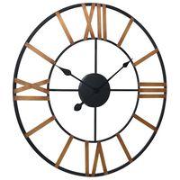 vidaXL Стенен часовник, златисто и черно, 70 см, метал