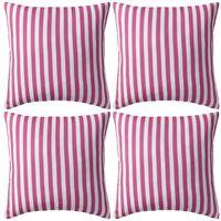 vidaXL Градински възглавници, 4 бр, райета, 45x45 см, розови