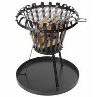 Perel Барбекю огнище с тава за пепел, кръгло, черно, BB650