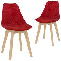 vidaXL Трапезни столове, 2 бр, червени, кадифе