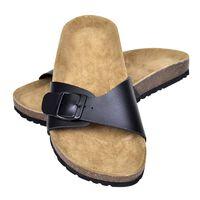 vidaXL Дамски чехли от био корк с каишка и катарама, черни, размер 38
