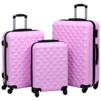 vidaXL Комплект твърди куфари с колелца, 3 бр, розов, ABS