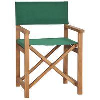 vidaXL Режисьорски стол, тиково дърво масив, зелен