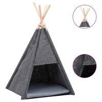 vidaXL Котешка палатка Типи с чанта, кадифе, черна, 40x40x70 см
