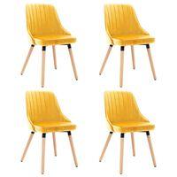 vidaXL Трапезни столове, 4 бр, жълти, кадифе