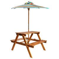 vidaXL Детска маса за пикник с чадър, 79x90x60 см, акация масив