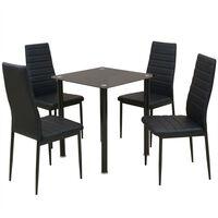 vidaXL Трапезен комплект, 5 части, маса и 4 стола, черен