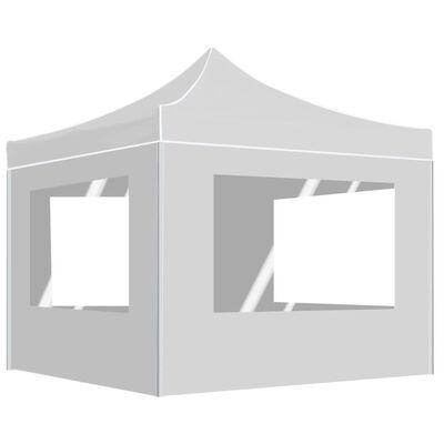 vidaXL Професионална сгъваема парти шатра + стени алуминий 3х3 м бяла