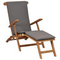 vidaXL Стол за веранда с възглавница, тъмносив, тиково дърво масив