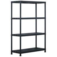 vidaXL Стелаж за съхранение, черен, 220 кг, 90x40x138 см, пластмаса