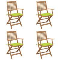 vidaXL Сгъваеми градински столове, 4 бр, възглавници, акация масив