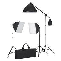 vidaXL Комплект студийно осветление: 3 фото лампи с трипод и софтбокс