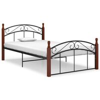 vidaXL Рамка за легло, черна, метал и дъбов масив, 120x200 см