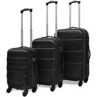 vidaXL комплект 3 броя твърди куфари на колелца, черни