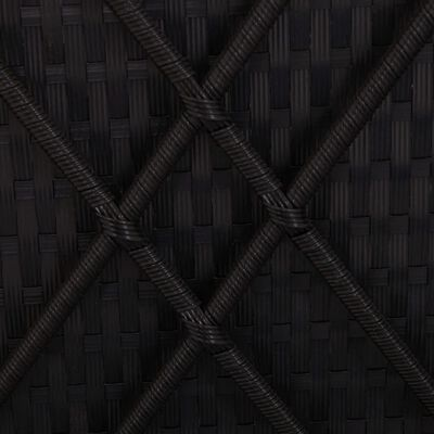 vidaXL Шезлонг с шалте и маса за чай, полиратан, черен