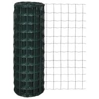 vidaXL Оградна мрежа, стомана, 25 x 1 м, зелена