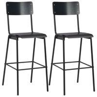 vidaXL Бар столове, 2 бр, черни, твърд шперплат, стомана