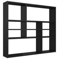 vidaXL Стенен рафт, черен гланц, 90x16x78 см, ПДЧ