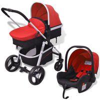 vidaXL Бебешка количка 3-в-1, алуминиева, червено и черно