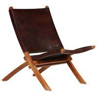 vidaXL Сгъваем релакс стол, кафяв, естествена кожа