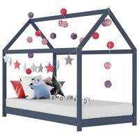 vidaXL Рамка за детско легло, сива, бор масив, 70x140 см