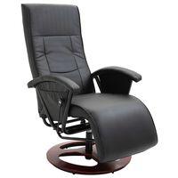 vidaXL Въртящ ТВ фотьойл, черен, изкуствена кожа