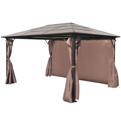 vidaXL Алуминиева шатра с кафяви завеси, 400 х 300 см