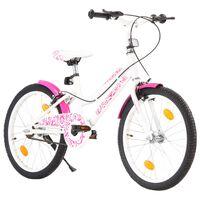 vidaXL Детски велосипед, 20 цола, розово и бяло