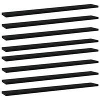 vidaXL Рафтове за етажерка, 8 бр, черни, 80x10x1,5 см, ПДЧ