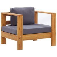 vidaXL Градинско кресло с тъмносива възглавница, акация масив