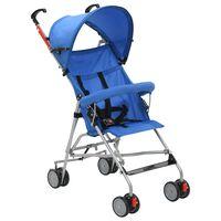 vidaXL Сгъваема детска количка тип бъги, синя, стомана
