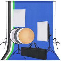 vidaXL Комплект за фото студио с фонове в 5 цвята и 2 софтбокса