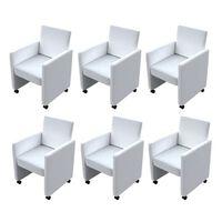 vidaXL Трапезни столове, 6 бр, бели, изкуствена кожа