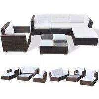vidaXL Градински комплект с възглавници, 6 части, кафяв полиратан