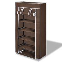 Платнен шкаф за обувки с покривало 58 х 28 х 106 см, кафяв