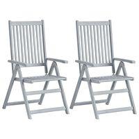 vidaXL Градински накланящи се столове, 2 бр, сиви, акация масив