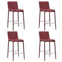 vidaXL Бар столове, 4 бр, виненочервени, изкуствена кожа