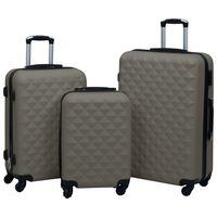 vidaXL Комплект твърди куфари с колелца, 3 бр, антрацит, ABS