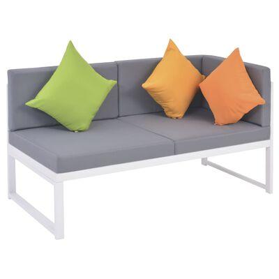 vidaXL Градински комплект с възглавници, 4 части, алуминий и WPC