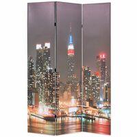 vidaXL Сгъваем параван за стая, 120x170 см, нощен Ню Йорк