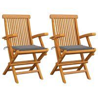 vidaXL Градински столове със сиви възглавници 2 бр тиково дърво масив