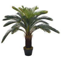 vidaXL Изкуствено растение, сагова палма със саксия, зелена, 90 см
