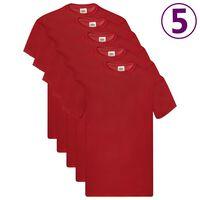 Fruit of the Loom Оригинални тениски, 5 бр, червени, 3XL, памук