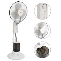 vidaXL Вентилатор за мъгла на стойка, 3 скорости на вятъра, бял