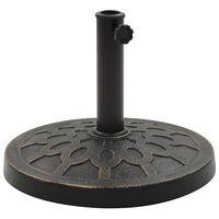 vidaXL Основа за чадър, кръгла, полирезин, 13 кг, бронз