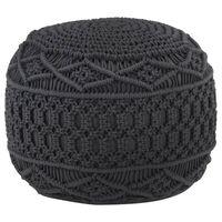 vidaXL Ръчно изработен пуф в макраме, антрацит, 45x30 см, памук
