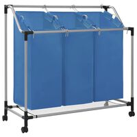 vidaXL Кош за сортиране на пране с 3 торби, син, стомана